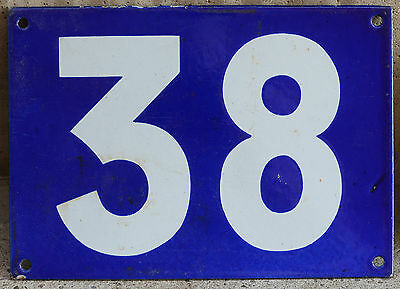 Giant old blue French house number 38 door gate plate plaque enamel steel sign