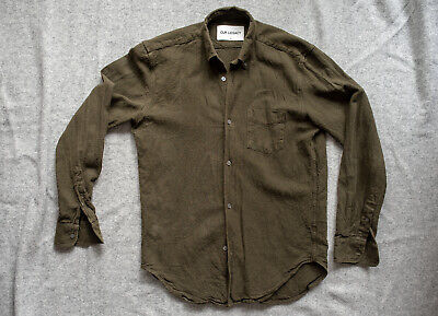 MENSWEAR Olive Linen Cotton Our Legacy Flannel - HEFTY and TEXTURED Size 48/M