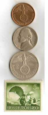 #-5-)-*rare WWII-*German Stamp+ *US and  *German SILVER  and  COPPER  coins