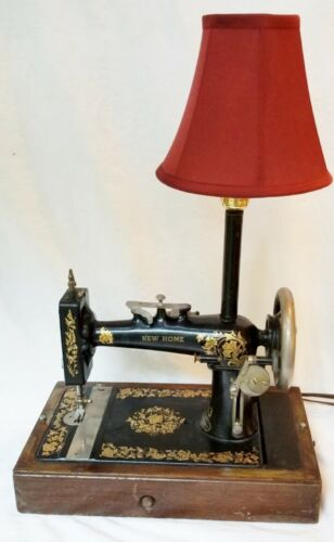 Unique LAMP Handcrafted ANTIQUE New Home SEWING MACHINE Wood Case Nite Light
