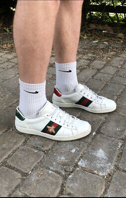 Authentic Gucci Ace Bee Leather Trainers White UK 12. RRP £405.00