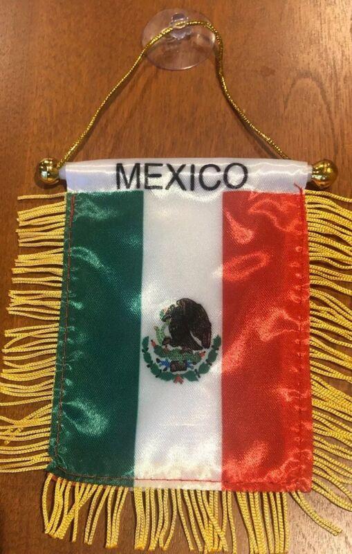 "Mexico 🇲🇽 4 X 6"" MINI BANNER FLAG CAR WINDOW MIRROR HANGING W Suction"