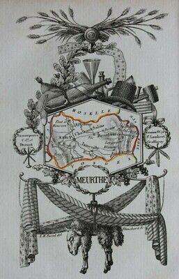 Miniature antique map, MEURTHE, NANCY, FRANCE, A.M. Perrot, 1824