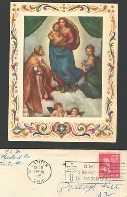 "Vintage 1951 Christmas Card 2 Cent Stamp RAPHAEL ""The Sistine Madonna"""