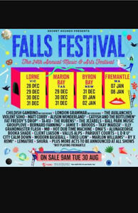 Falls Festival Byron Bay 2x 3 day tickets ++ camping Burleigh Waters Gold Coast South Preview