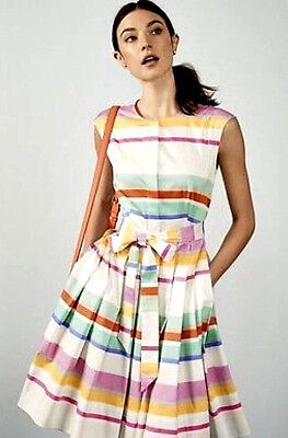 KATE SPADE Sweet Candy Multi Cape Stripes Shirtdress Pleated Front sz 14 $398