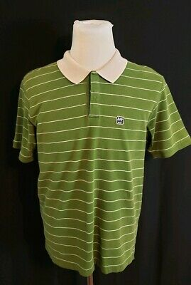 Abercrombie & Fitch Polo Striped Olive Green & Cream Stripes Mens  Size Large