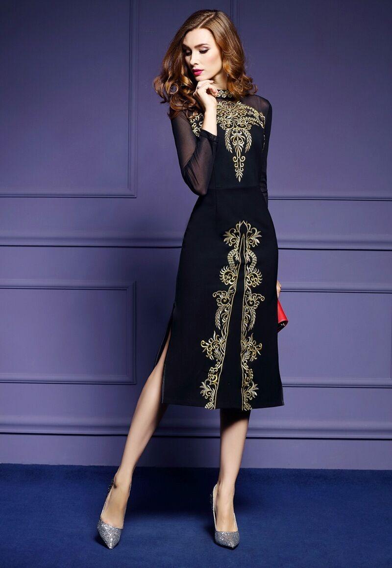 Купить Unbranded - Elegant Women High-end Embroidery Skirts Long Sleeve Mesh Furcal Slim Sexy Dress