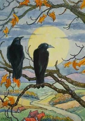 Halloween , Crows in Tree, Full Moon