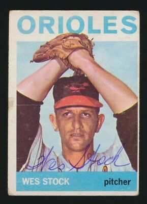1964 Topps #382 WES STOCK (Baltimore Orioles) *AUTOGRAPHED* Semi High #
