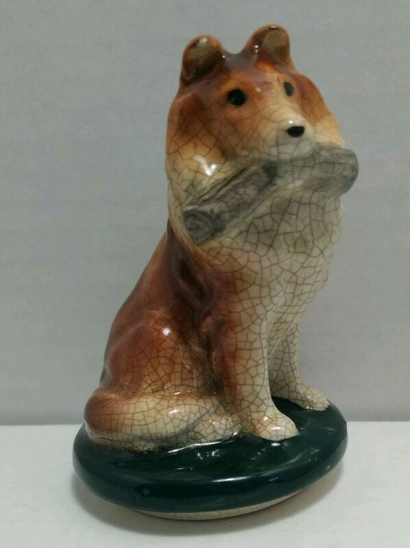 """Vintage Attractive Collie Dog Ceramic Lassie Sitting 3"""" Tall ***FREE SHIPPING***"""
