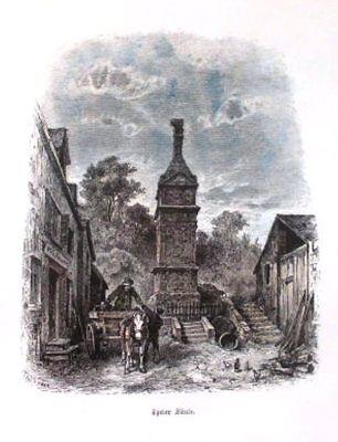 IGELER SÄULE IN IGEL b.TRIER:Handkolorierter Holzschnitt um 1878/80. Th.Weber.