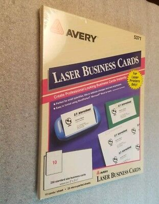 Perforated Business Cards (Avery 5371 - Perforated Business Cards, Laser, White 250 Cards SEALED BRAND)