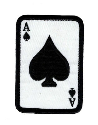 Ace Of Spades Embroidered Hook Fastener Patch  3 0 X 2 0  As1