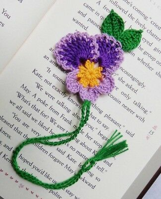 CROCHET PURPLE PANSY FLOWER BOOKMARK SCRAPBOOKING  VALENTINE TEEN  WOMEN