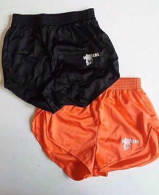 (LOT OF 2) Hooters Uniform PAIR of BLACK AND ORANGE Halloween Sexy Shiny Shorts - 2 Pair Halloween Costumes