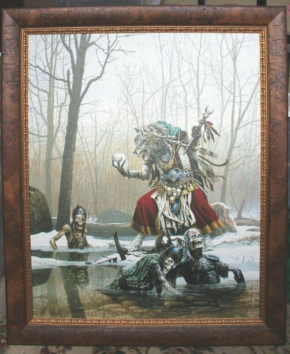 Keith Parkinson 1989 Arcane Summons Giclee Print On Canvas Double Framed 35x29 - $325.00