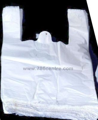 Quality White Plastic Vest Carrier Bags Supermarket Style, Jumbo Size 12x18x24