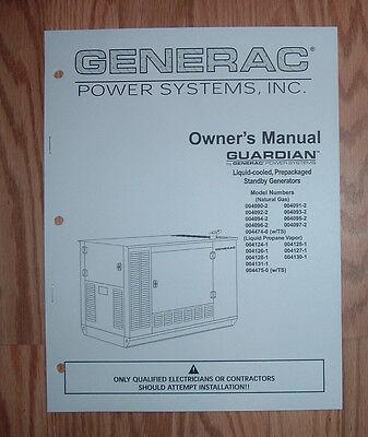 GENERAC GUARDIAN  MODEL 004124-1 STANDBY GENERATOR OWNERS/ PARTS LIST MANUAL (Guardian Generator Manual)