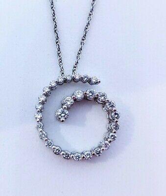 14K White Gold Round Diamond Journey Circle Swirl Pendant -