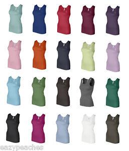 Bella-Ladies-Size-S-2XL-Womens-1X1-Rib-100-Cotton-Tank-Top-T-Shirt-NEW-1080-Tee