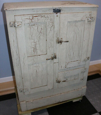 Antique Sanitary Refrigerator painted oak wood ice box RECENTLY DISCOVERED