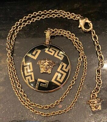 """AUTHENTIC VERSACE MEDUSA MEDALLION 18"""" NECKLACE WITH BOX"""