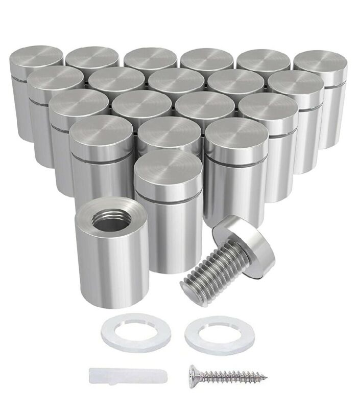 LuckIn 20-Pack 1/2 x 3/4 Inch Stainless Steel Standoff Screws, Mounting Glass...