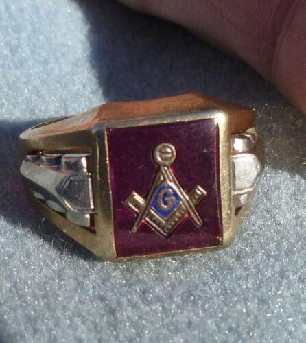 Vintage Masonic Rings Art Deco 10K White & Yellow Gold Size 10.5