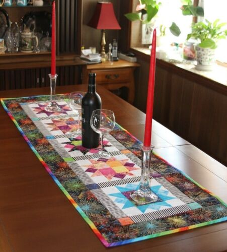 Handmade Quilted Party Time Metallic Fireworks Table Runner / Stars on backing