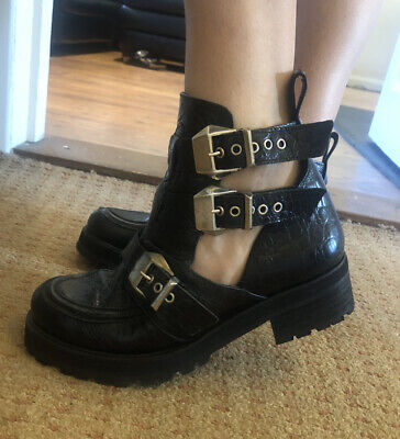 Office Ultimate Jeffrey Campbell Leather Croc Cut Out Buckle Chunky Biker Boots
