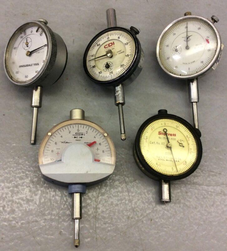 Dial Indicator Lot Of 5 Kafer Chicago CDI Starrett Aerospace Machinist Gauge