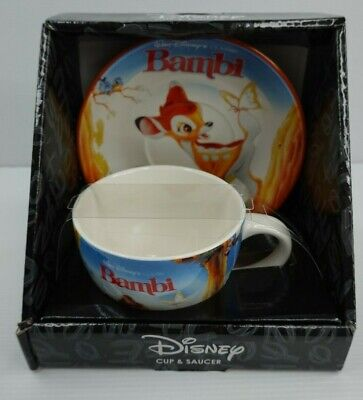 Disney Bambi Cup and Plate Saucer set 350ml Microwave Dishwasher safe