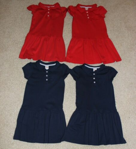 Lot of 4 Gymboree school uniform dresses size 6 navy BLUE red cotton polo style