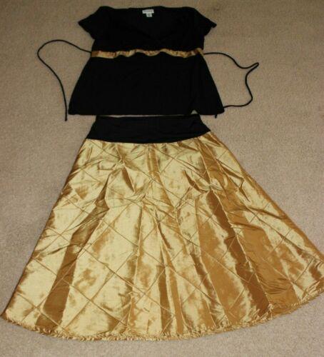 Motherhood Maternity black and gold skirt top size SMALL church wedding formal