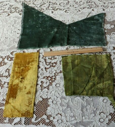 Antique 1600s Museum Deaccessioned Silk Velvet~3pcs~Blue,Green,Yellow~Dolls