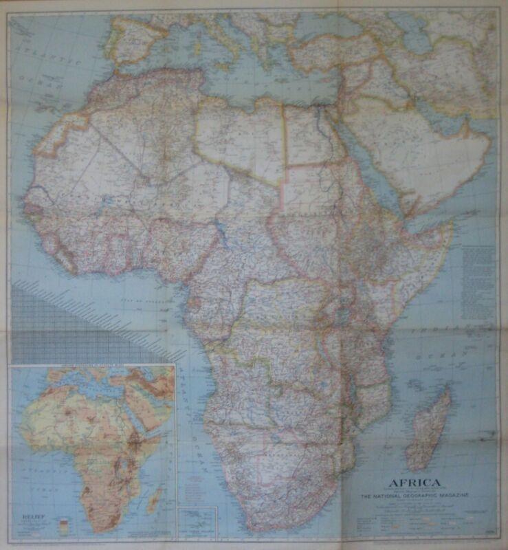 1943 Map COLONIAL AFRICA Belgian Congo Kenya Rhodesia Angola Algeria Slave Coast