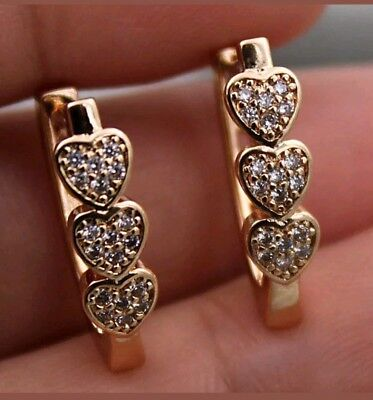 Sweet yellow gold filled triple heart cubic zirconia hoop earrings -