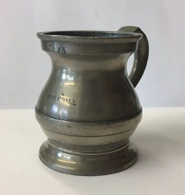 Vintage Half Gill Pewter Tankard Measure Gaskell & Chambers 6.5cm In Height