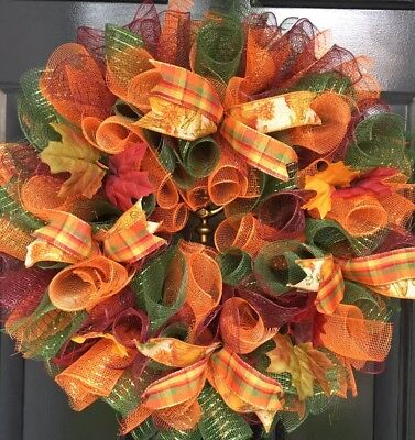 Fall Door Wreath Thanksgiving Autumn Colors Deco Mesh Leaves Bold Colors