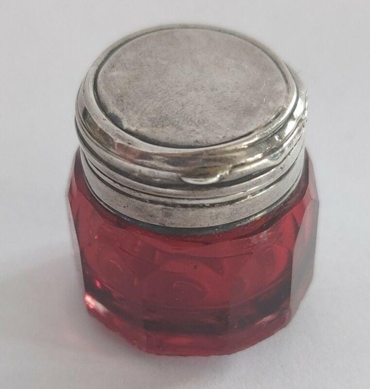 Antique Silver Top Cranberry Glass Vinaigrette