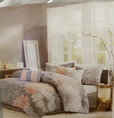 MADISON PARK 7-PC CAL KING COMFORTER SET GREY/BLUSH LOLA California King Chenille Comforter