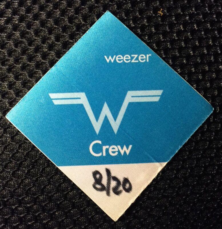 Weezer authentic concert tour satin cloth Backstage Pass crew Blue 8/20