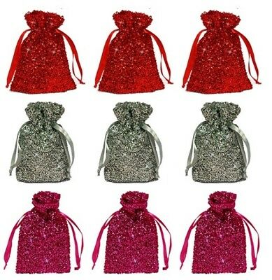 "New Set of 3 Metallic 5"" x 8"" Fabric Gift Bags – Choose From 3 Brilliant Colors Metallic Gift Bag"