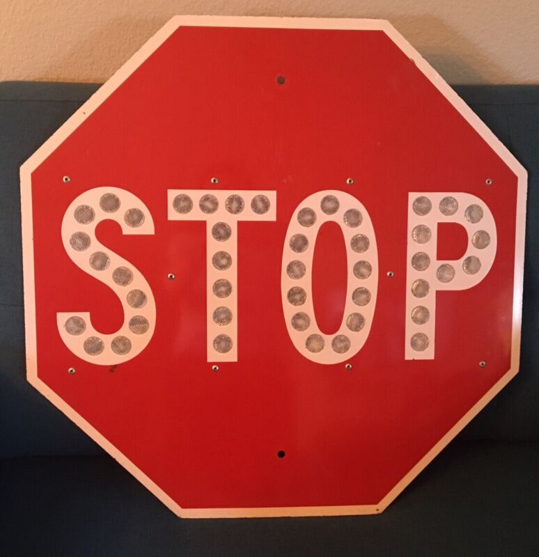 "Vintage Stop Sign With Reflectors 24"" Palm Dessert Orange County Rare FREE S/H"