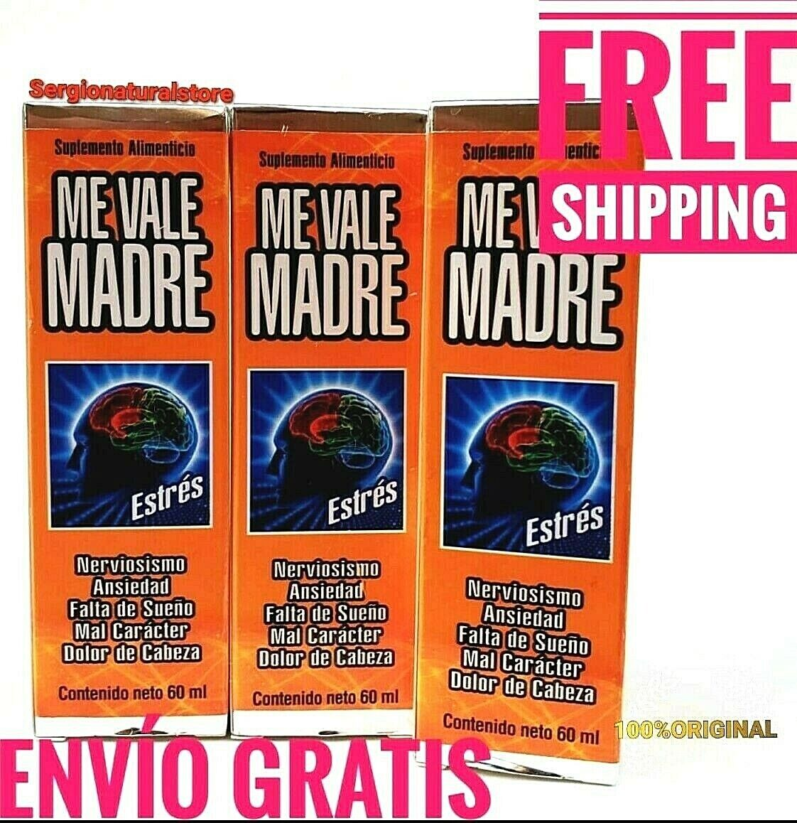 3 Packs ME VALE MADRE DROPS 60 ml each SUPPORT FOR STRESS ANXIETY