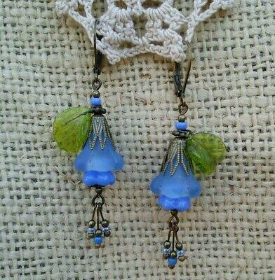 Vintage Victorian Style Earrings Glass Blue Frosted Flower Leaf Dangle - Glass Leaf Earrings