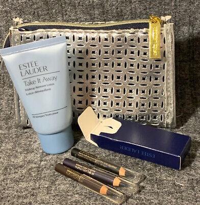 Estee Lauder Intense Kajal Eyeliner 01 Black + 02 Cocoa + 03 Plum + Remover &Bag Estee Black Eyeliner