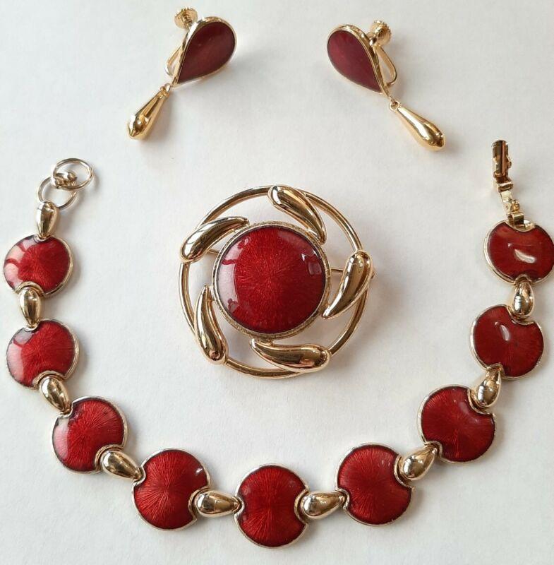 Gold Plate & Red Enameled Brooch/ Pendant, Bracelet & Screwback Earrings Set