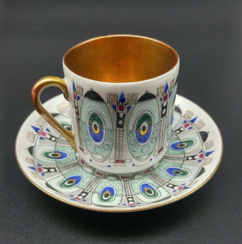 Vintage Arabia Finland Eira Demitasse Teacup and Saucer - Signed Mid Century